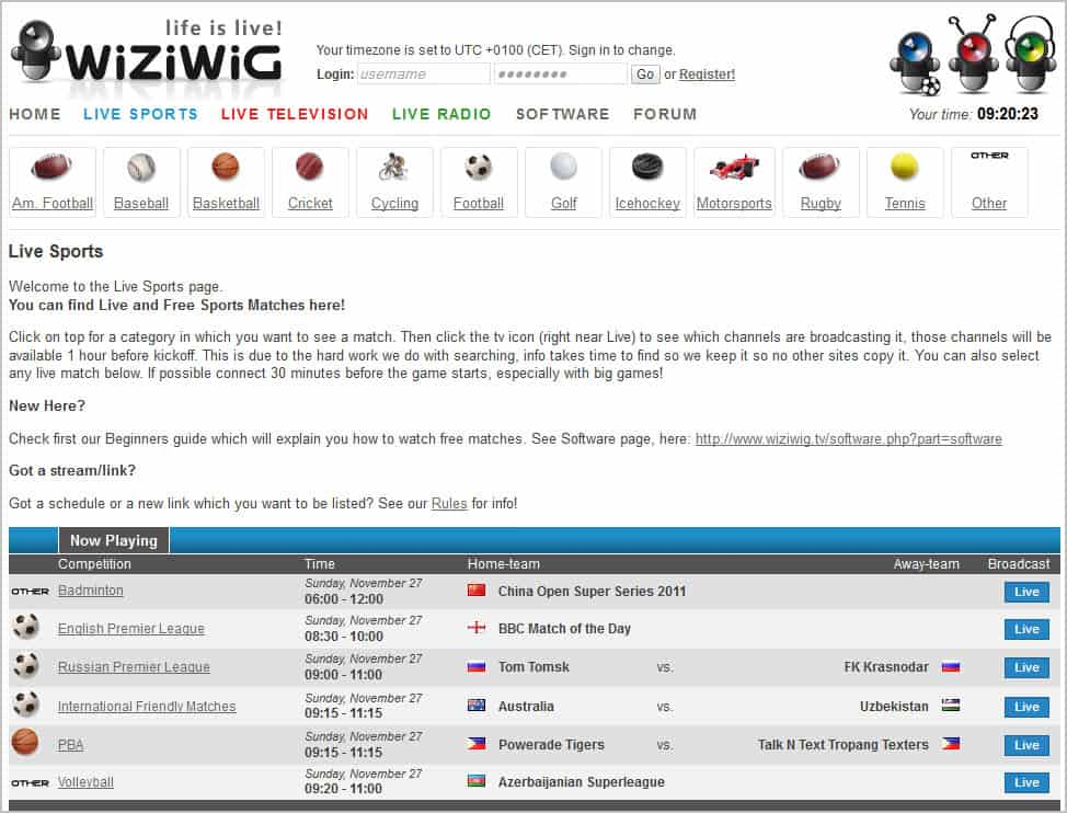 Wiziwig.tv, The new MyP2P.eu for Online Live Sports? - gHacks Tech.