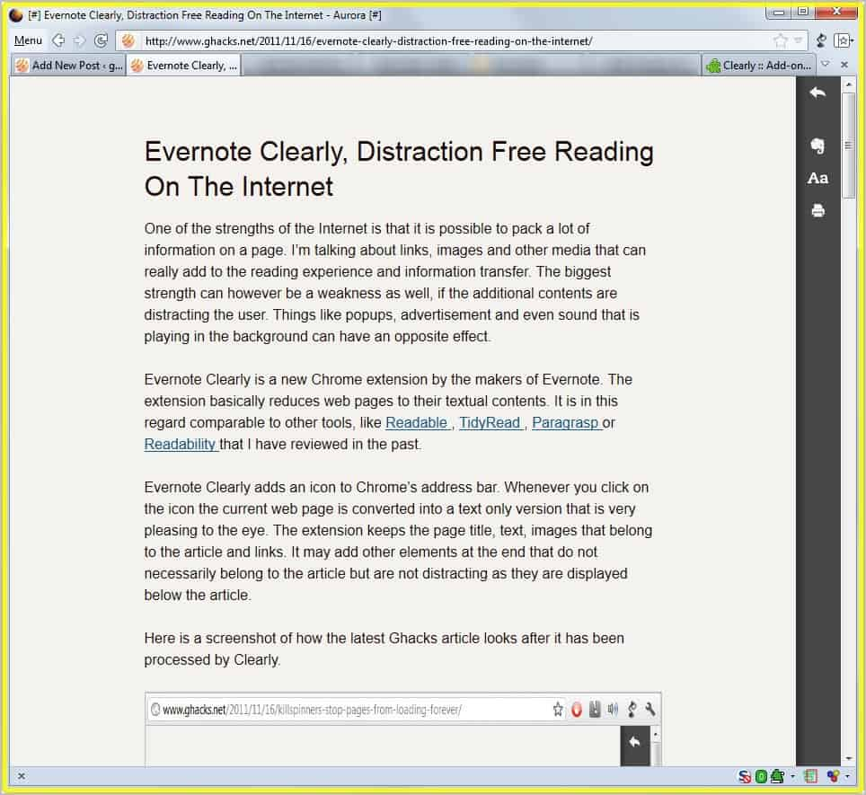 evernote clearly addon