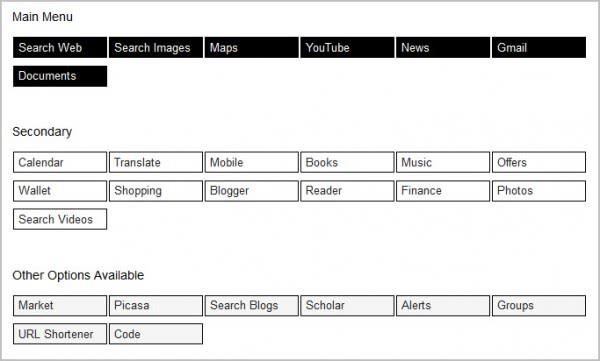 google menu customize