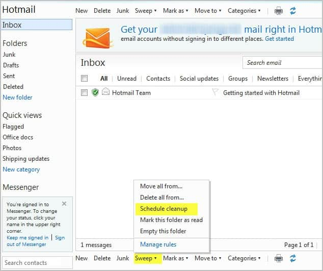 hotmail schedule cleanup