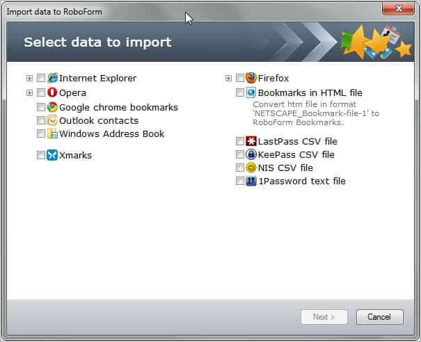 import login data