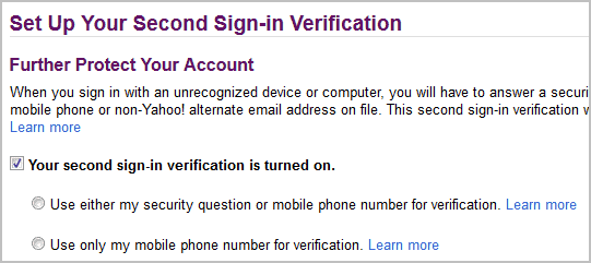 second sign-in verification