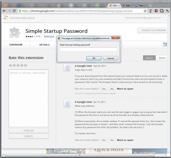 chrome simple startup password