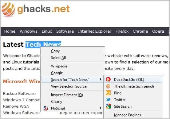context menu search