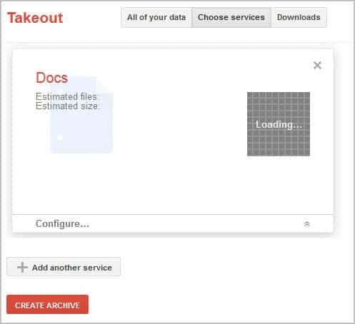 google docs takeout