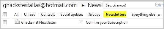 hotmail newsletters