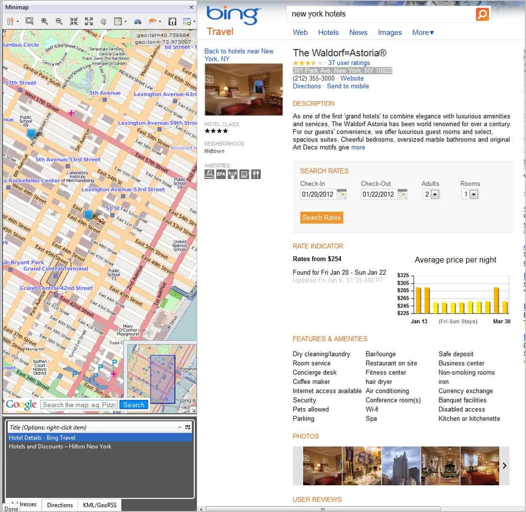 minimap sidebar uses google maps by default with options to switch to open street map instead locations can also be opened in tabs or as an overlay