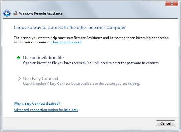 windows remote invitation file