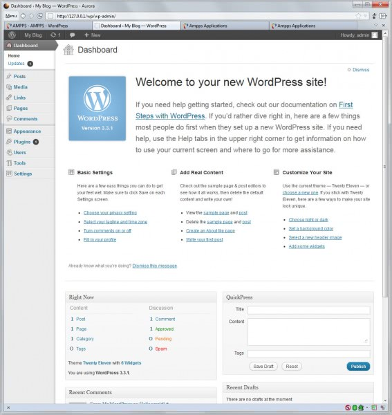 wordpress local installation