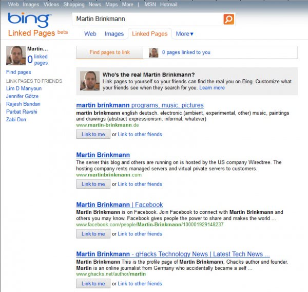 bing linked pages