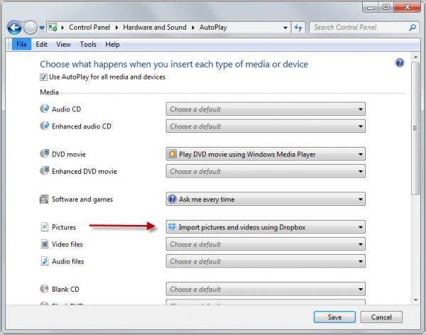 dropbox photo import
