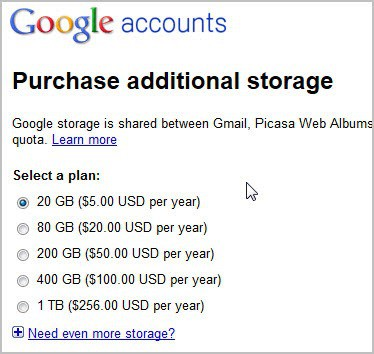 google purchase additional storage