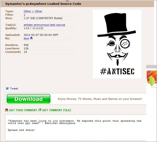 symantec pc anywhere source code