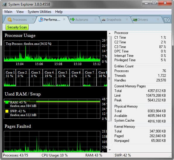 system explorer performance