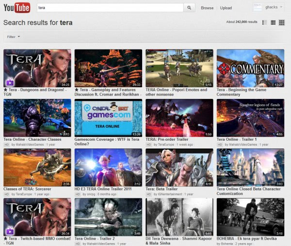 youtube large results