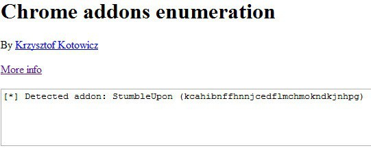 chrome add-ons enumeration