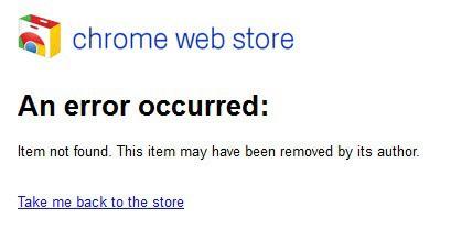 chrome web store an error occurred