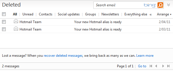 how to delete all emails from one sender hotmail