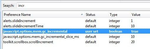 javascript options mem gc_incremental