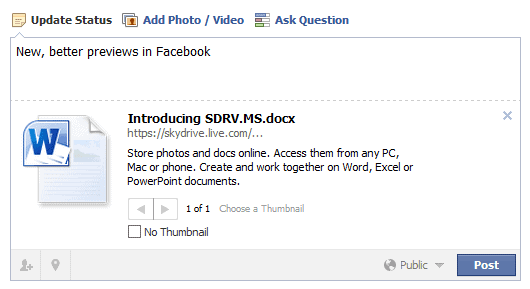 link previews facebook