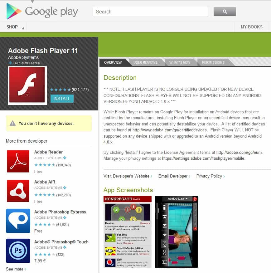 Latest adobe flash player android