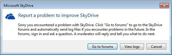 skydrive report a problem