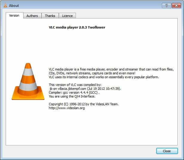 vlc media player 2.0.3 windows