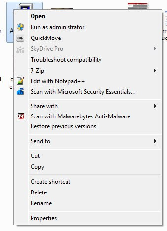 windows explorer context menu