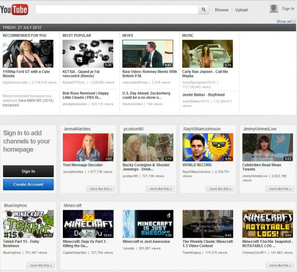 youtube new carousel design