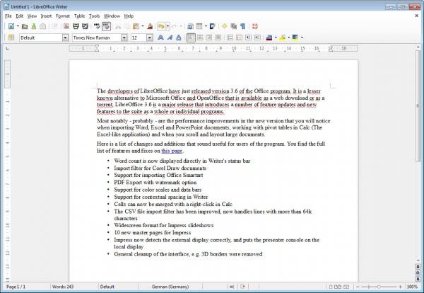 libreoffice writer 3.6