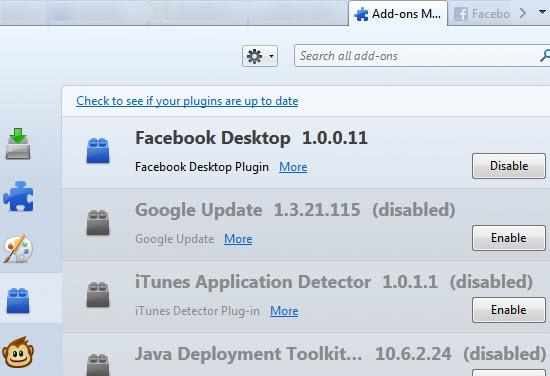 facebook desktop plugin firefox