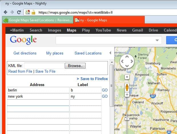 google maps save locations
