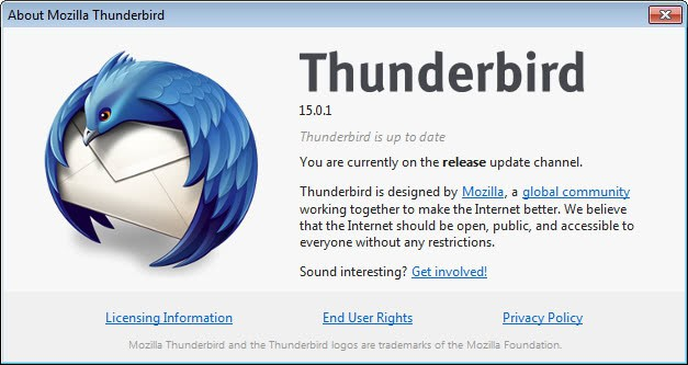 thunderbird 15.0.1