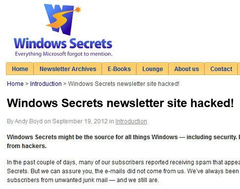 windows secrets hacked