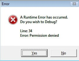 a runtime error has occured