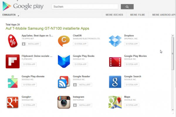 google play apps on one page