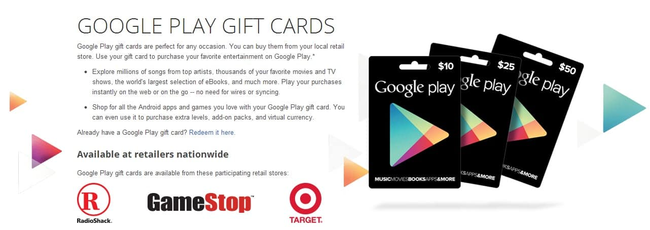 where can i purchase google play gift cards