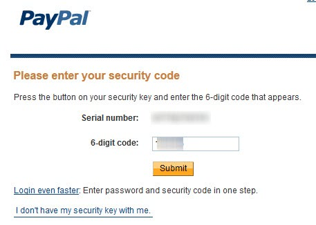 paypal login security code