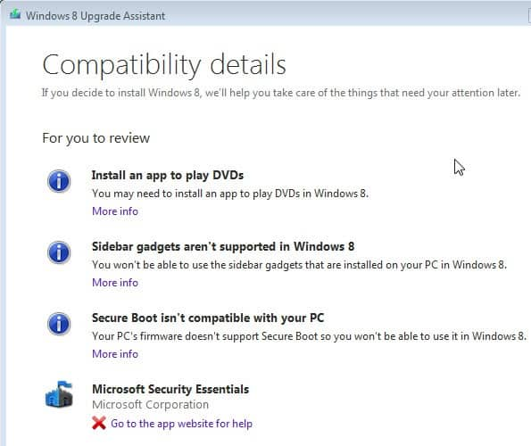 windows 8 upgrade compatilbility