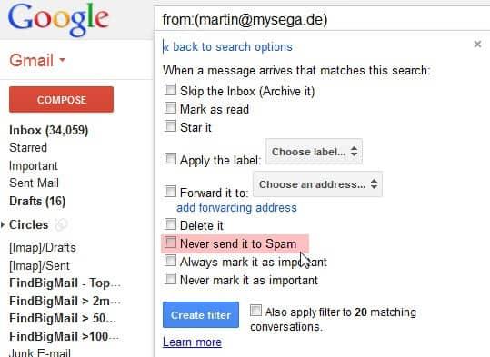 gmail whitelist email avoid spam