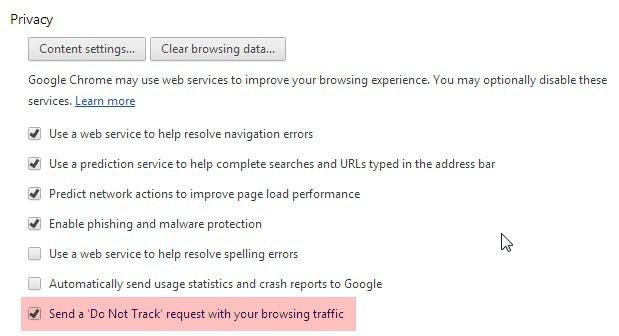 google chrome do not track