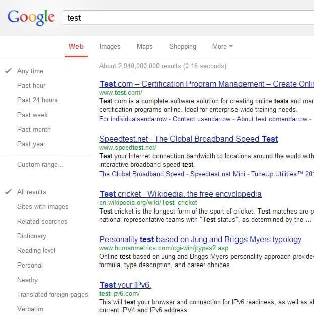 google search sidebar