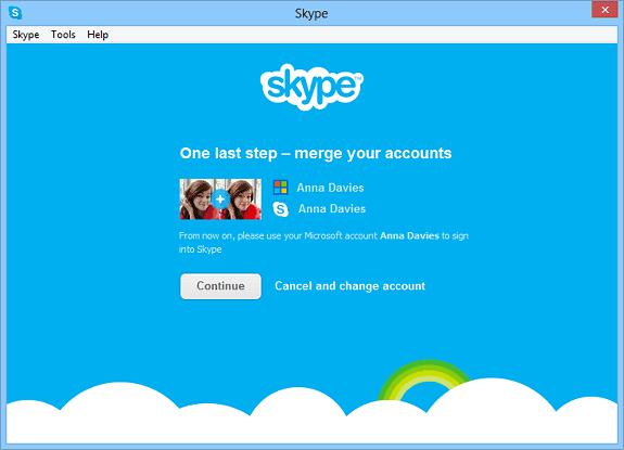 merge messenger skype account