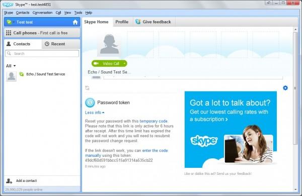 skype password reset