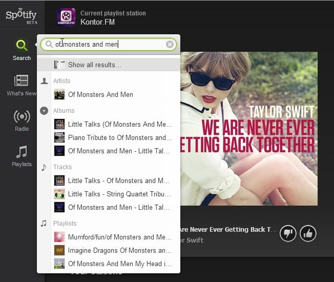 spotify web search