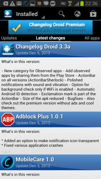 changelog droid