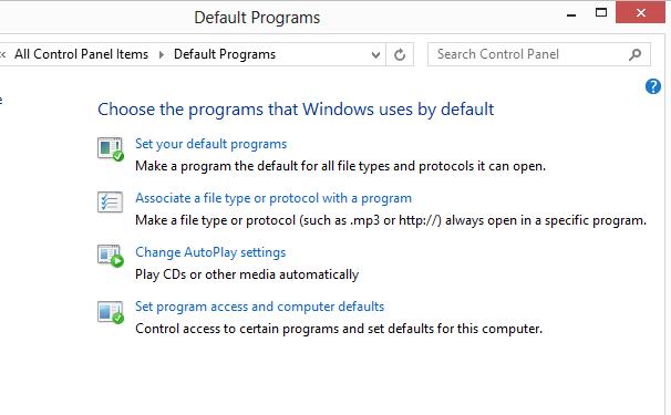 default programs