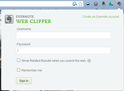 evernote web clipper sign in