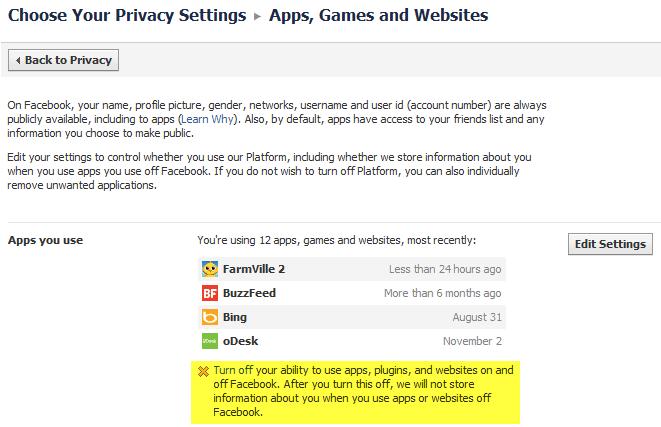 facebook turn off apps