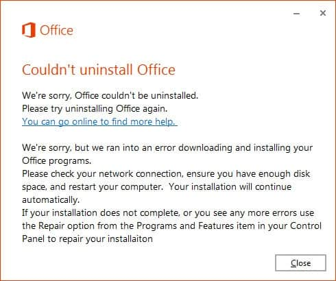 could not uninstall office